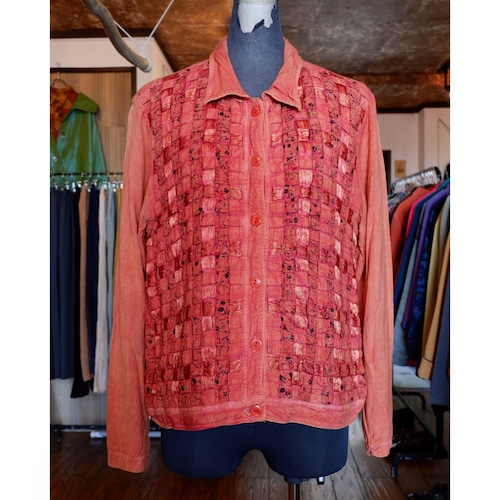 アメリカ古着 indian rayon 編み込み ジャケット