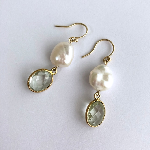 Color Gem x Baroque Pearl Pierces Two -002 / K10YG・ Pair