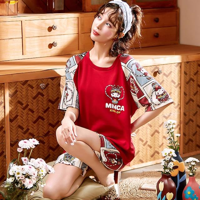 【IROUQシリーズ】★チャイナ風パジャマ★ ルームウェア トップス+短パン コットン レッド 赤い ラウンドネック