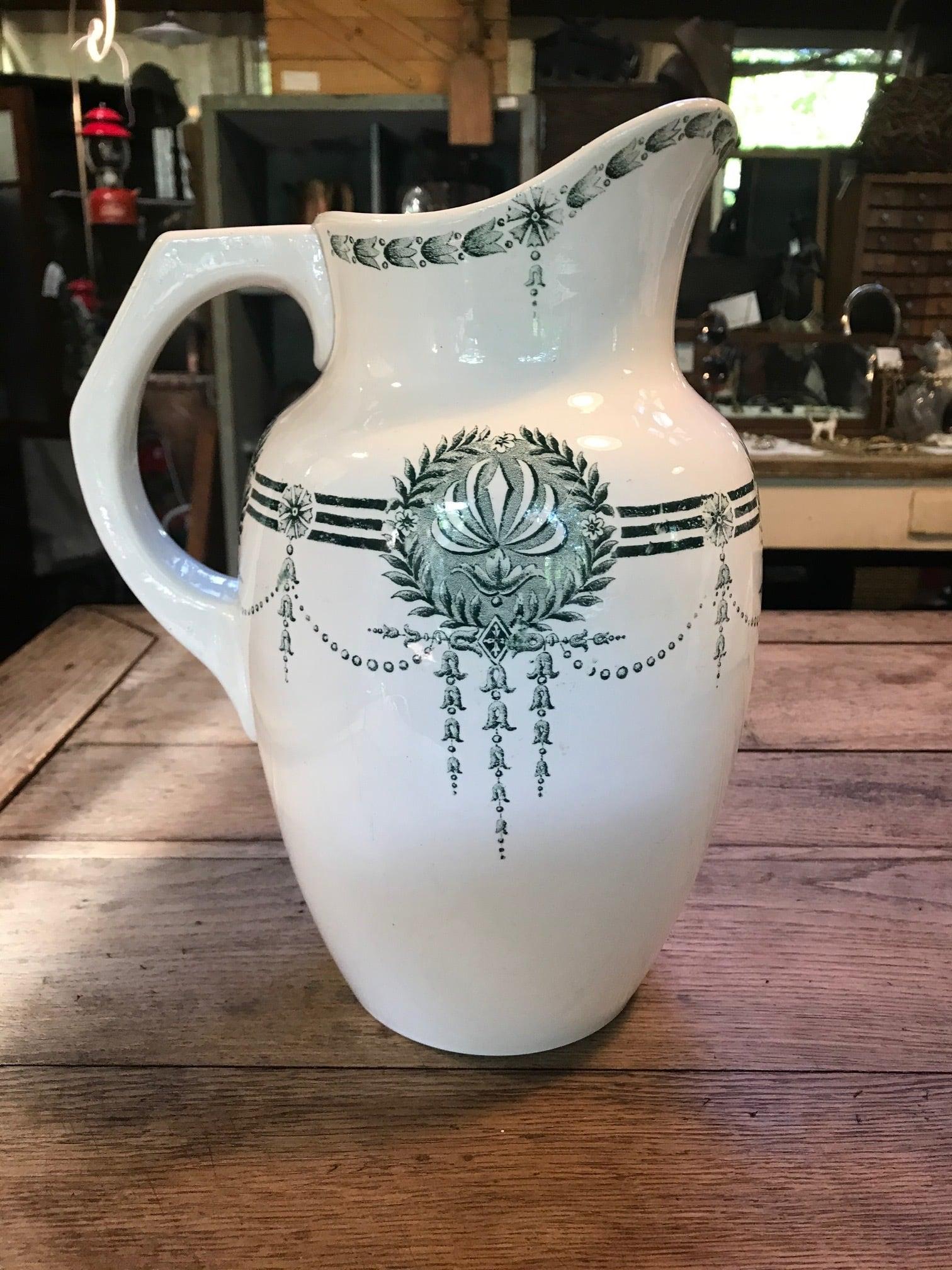 1930年代 フランスアンティーク sarreguemines サルグミンヌ 大きなジャグ 花瓶