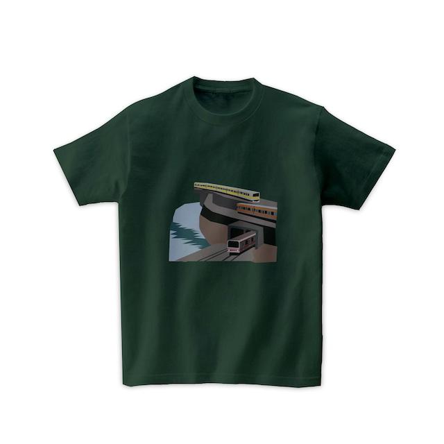 電車Tシャツ-3線交差