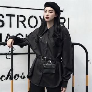 【トップス】ストリート系長袖POLOネックシングルブレストバッグ付きシャツ42920179