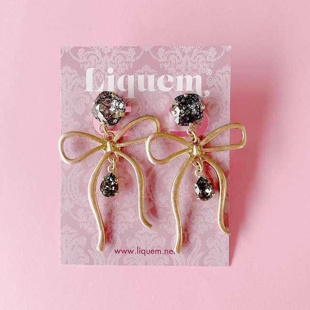 Liquem / リボンイヤリング(ブラック)