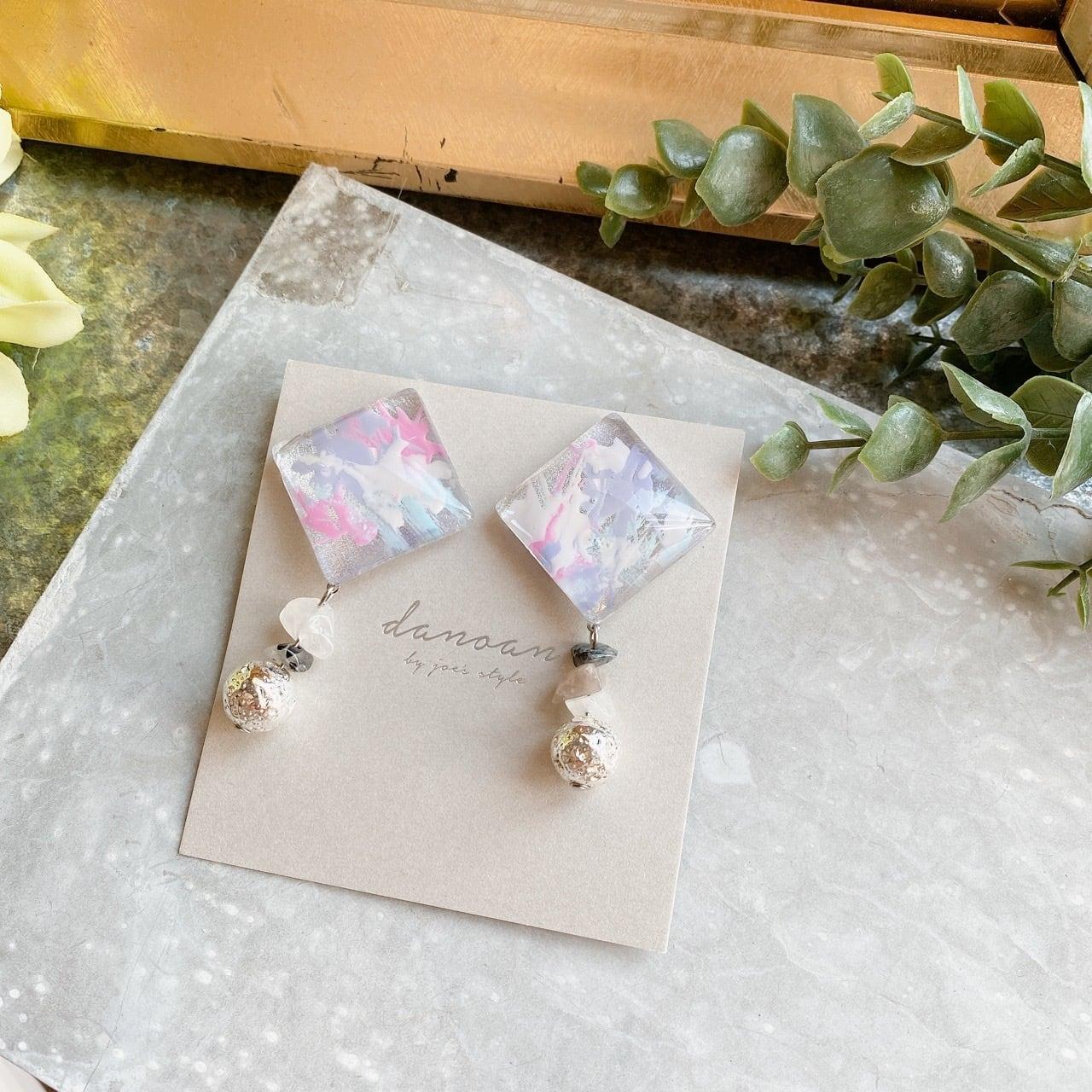 """"""" Earrings NO.danoan-140″ ペイントとシルバー天然石"""