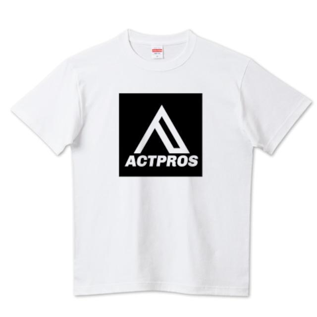 【MEN'S】ACTPROS スクエアロゴ(BOX A-TYPE) 5.6ハイクオリティーTシャツ(United Athle) ホワイト【9colors】
