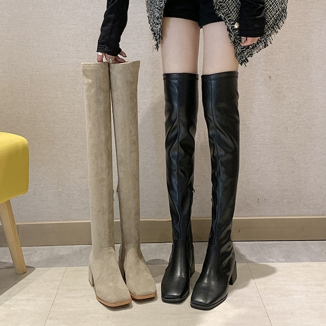 【シューズ】人気ファッションブロックヒールミドルヒールストレッチスクエアトゥロング丈ブーツ38217783