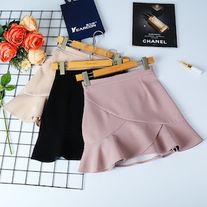 simple frill skirt 3color