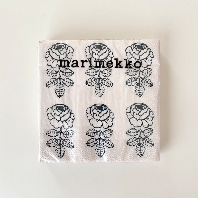 【marimekko】ランチサイズ ペーパーナプキン VIHKIRUUSU クリームxグリーン 20枚入り