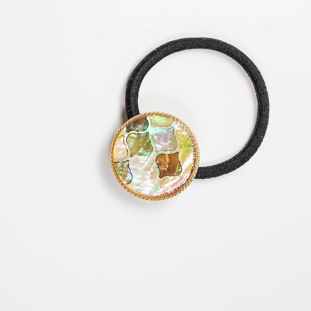 天然貝ヘアゴム(モロッカン・ナチュラル)簡単可愛いまとめ髪に★シェル・螺鈿アート ヘアアクセサリー