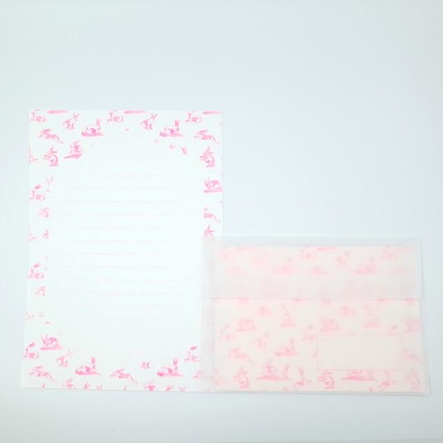 オリジナル レターセット(便箋12枚・封筒3枚)<うさぎ柄(蛍光ピンク)>