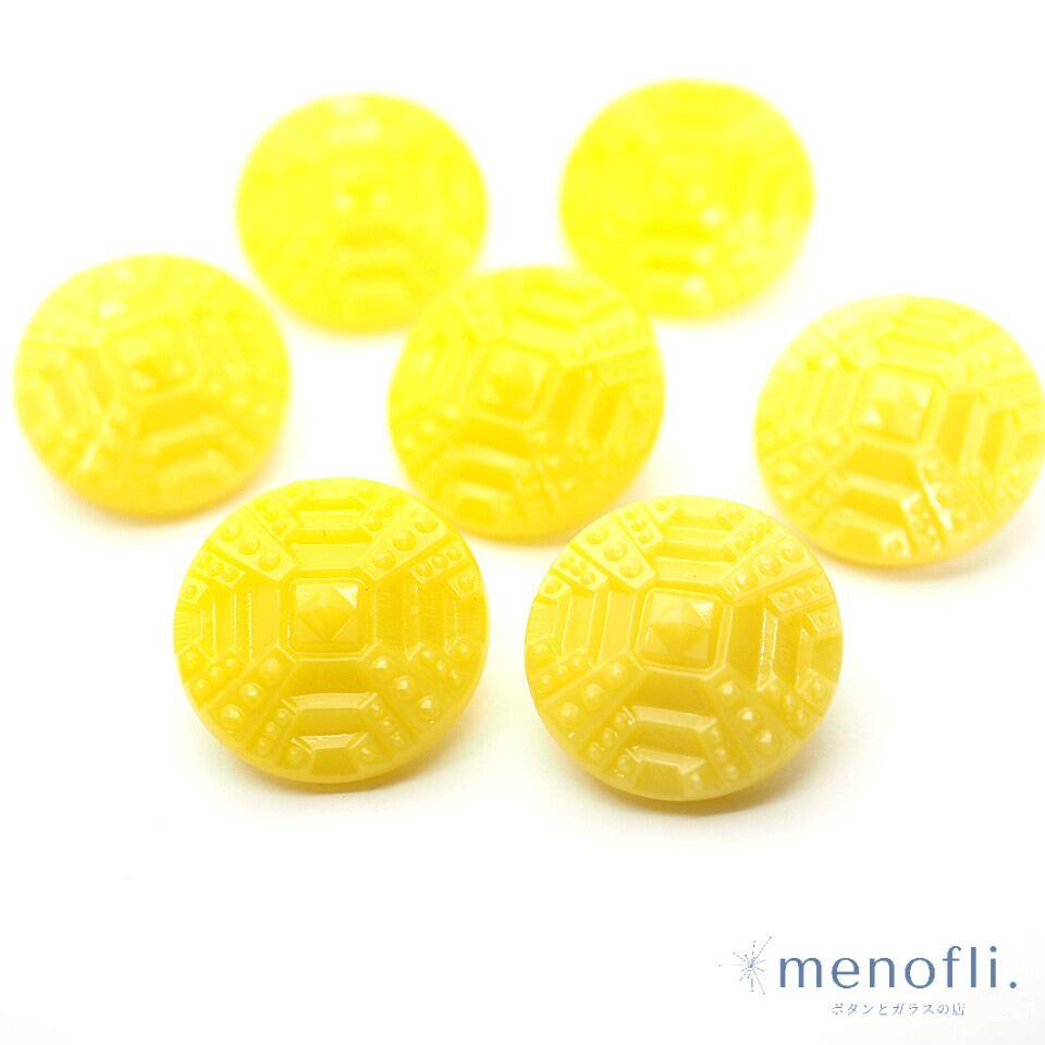 黄色 ヴィンテージボタン チェコガラスボタン RCZB036