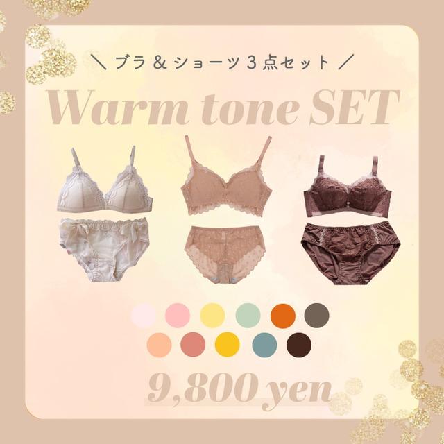 【ウォームトーン】ブラ&ショーツ3点セット+折り畳みトートバッグ