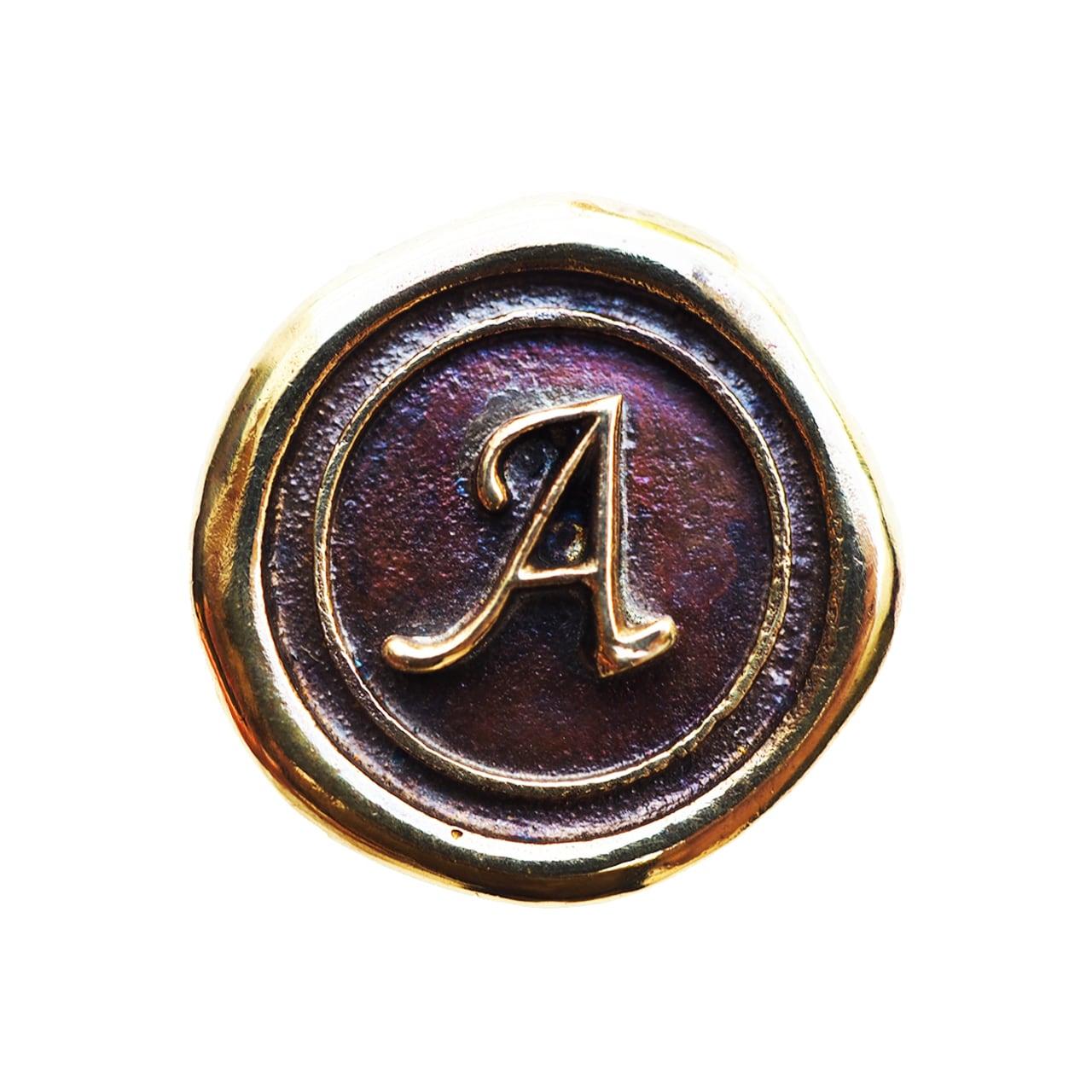 シーリングイニシャル S 〈A〉 ブラス / コンチョボタン