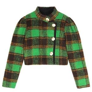 side way green check jacket