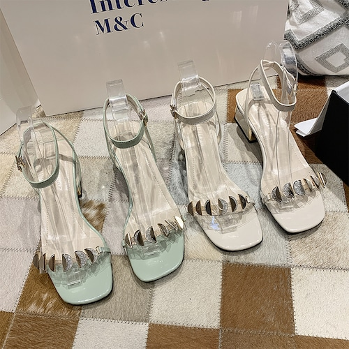 サンダル アンクルストラップ チャンキーヒール 6cm 韓国ファッション レディース ストラップ パンプス キュート 痛くない かわいい 靴 歩きやすい 615384288978
