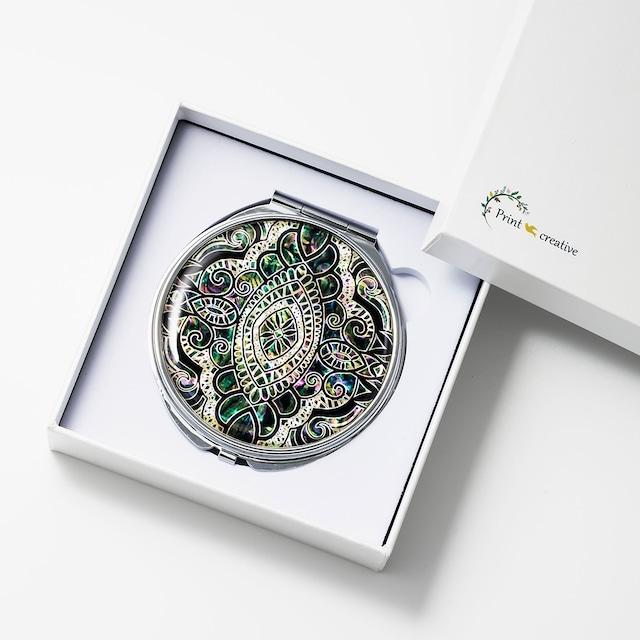 天然貝 コンパクトミラー(エイシェントイスタンブール・アース)|螺鈿アート|プレゼント・ギフトにおすすめ