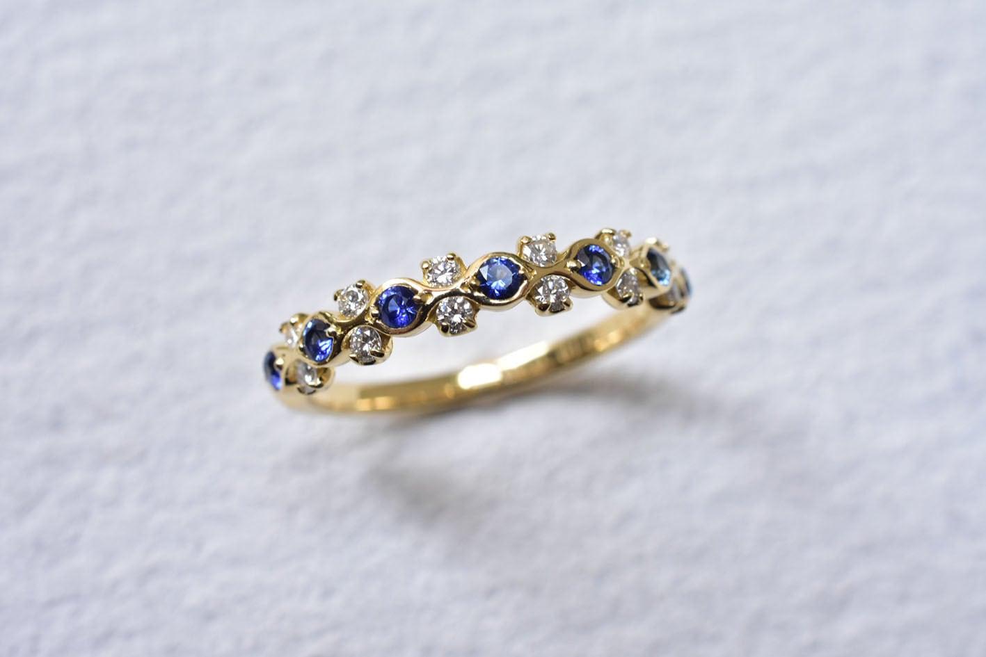 サファイア&ダイヤモンド リング  K18YG
