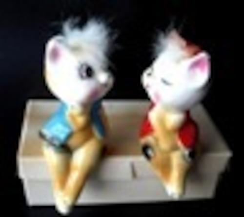 陶器人形 猫ペア 昭和レトロ 宇山あゆみ  ラブリーウインク
