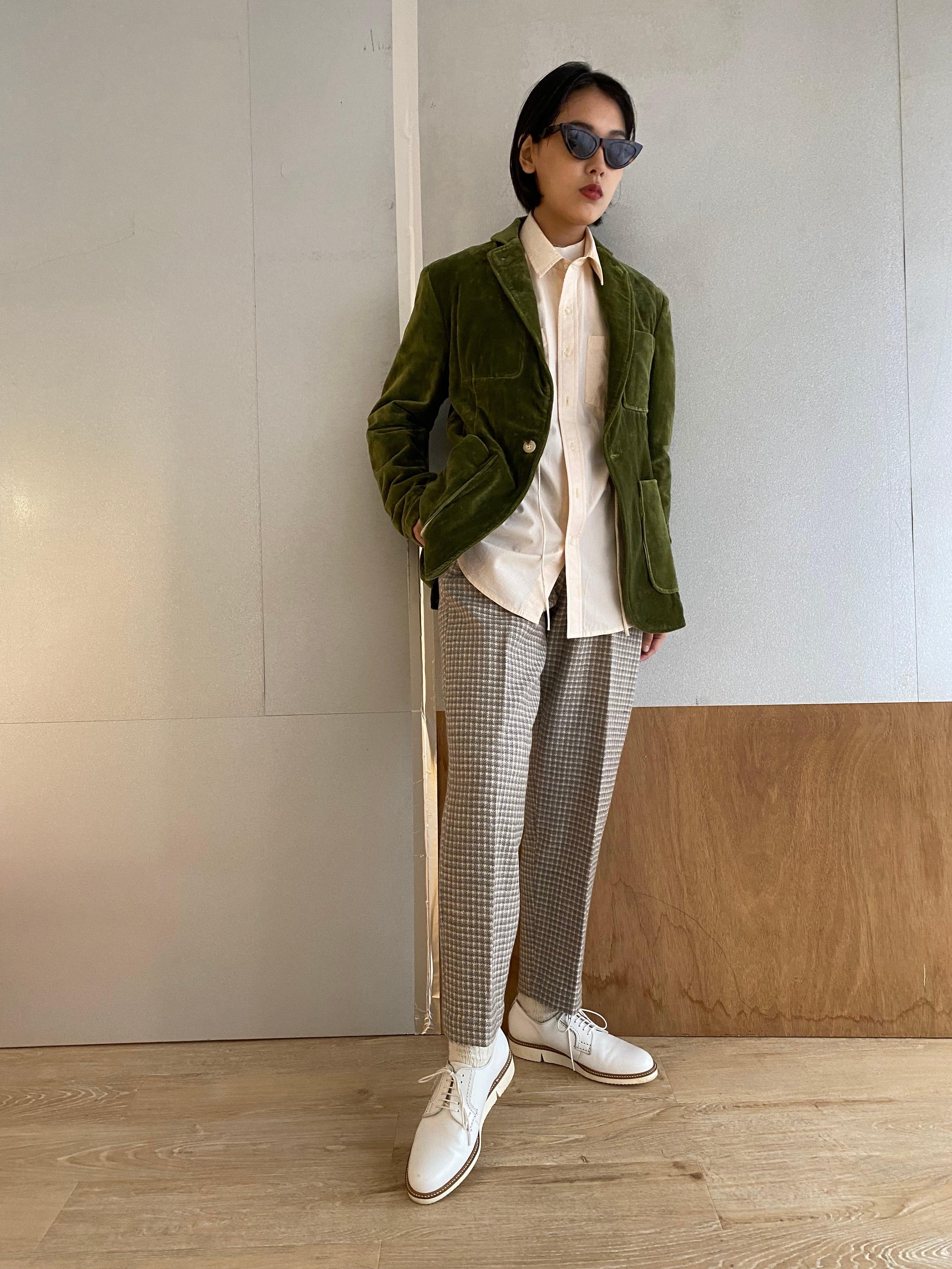 "Safari jacket ""green"" cotton velvet"