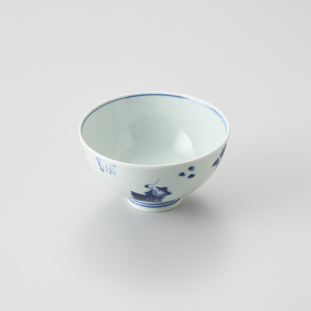 """【青花】""""異人づくし"""" 3.5寸丸飯碗"""