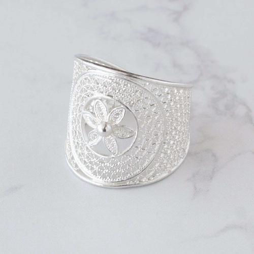 ジャスミン ワイド リング / 銀線細工(指輪)