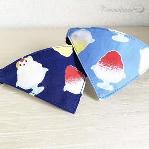 【かき氷柄】猫用バンダナ風首輪/選べるセーフティバックル 猫首輪