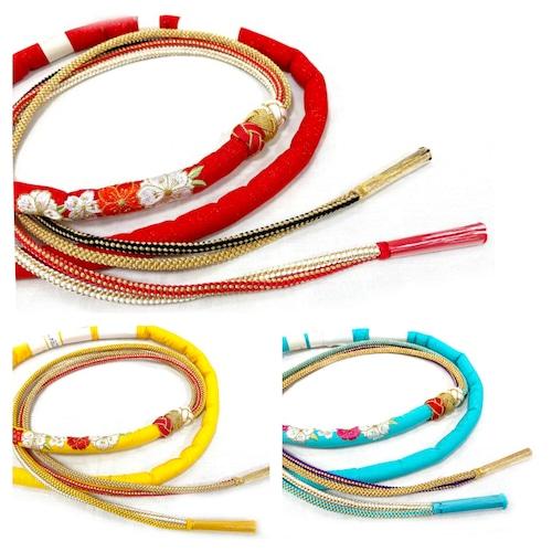振袖用帯締め 丸ぐけ×組紐 桜刺繍&苧環飾り