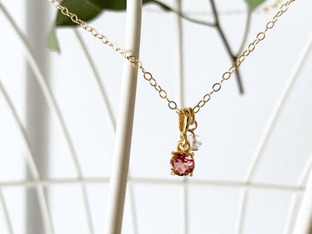 【4月&10月の誕生石】心に活力と勇気を与えるピンクトルマリン&ハーキマー・ダイヤモンド(水晶)ネックレス(K14GF)