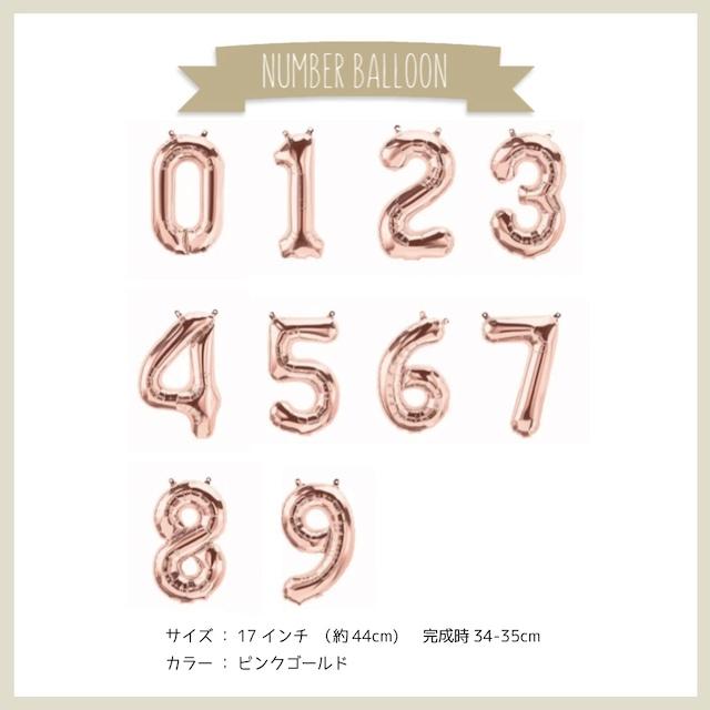 ナンバーバルーン0~9 ピンクゴールド
