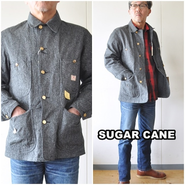 SUGAR CANE シュガーケーン  9oz. BLACK COVERT  WORK COAT  SC14373  日本製  カバーオール ブラックコバート  杢グレー ワーク ジャケット