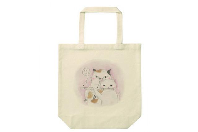 フルート猫のトートバッグ(2匹)