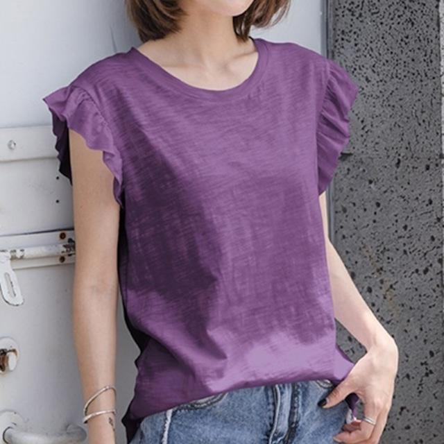 フリル袖 Tシャツ カジュアル きれいなカラー★3色