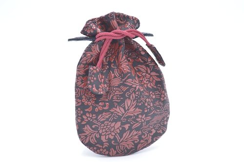 不思議巾着(小)黒/赤 牡丹と鳳凰柄