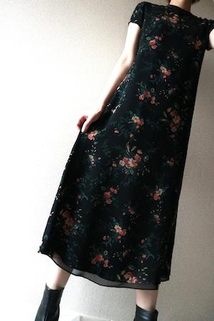 Vintage flower pattern silk dress