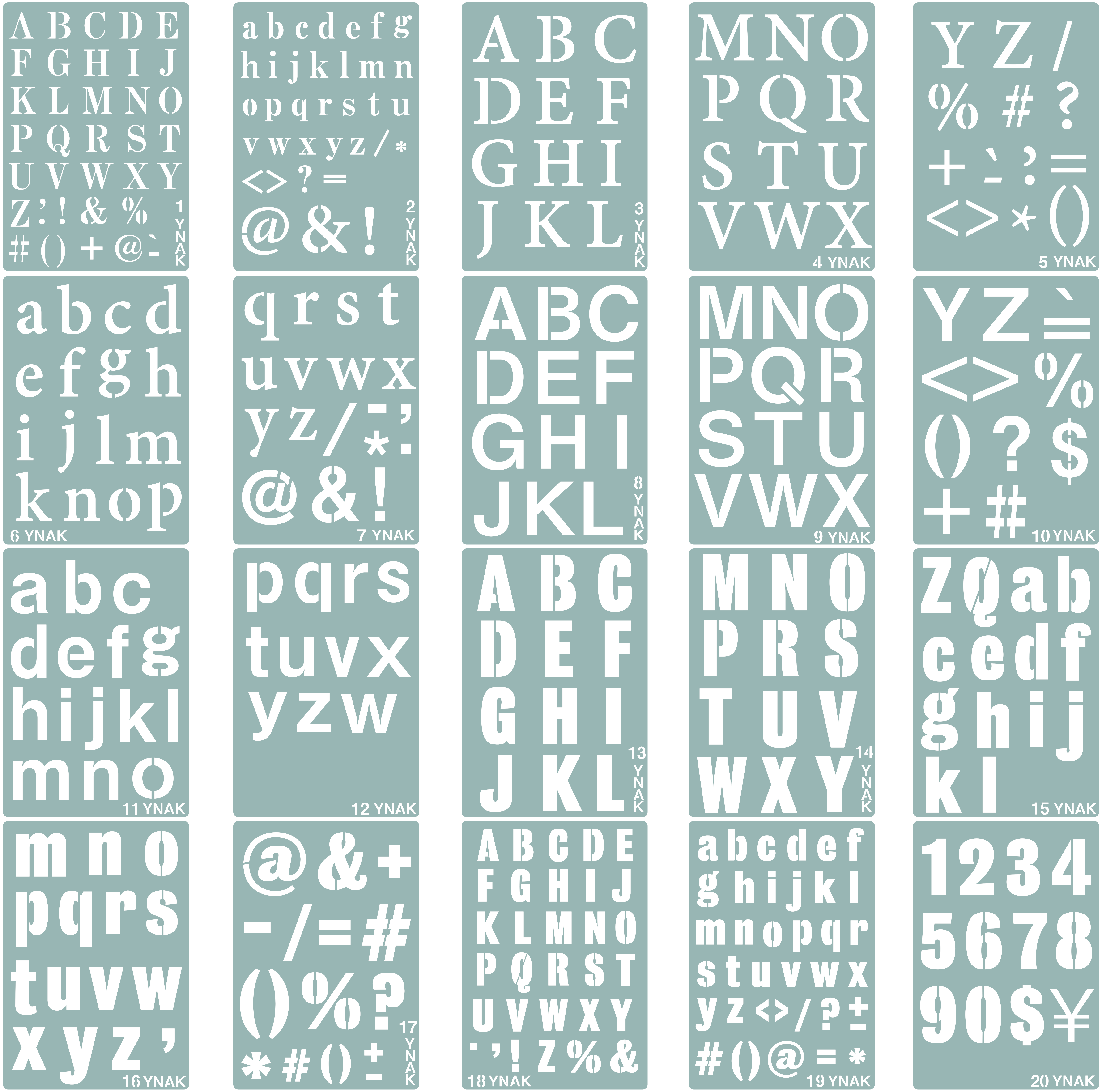 ステンシルシート アルファベット 大 小文字 数字 均等 テンプレート ステンシルプレート 型 メッセージ ジャーナルカード グリーティング 26cm×18cm 20枚 YNAK