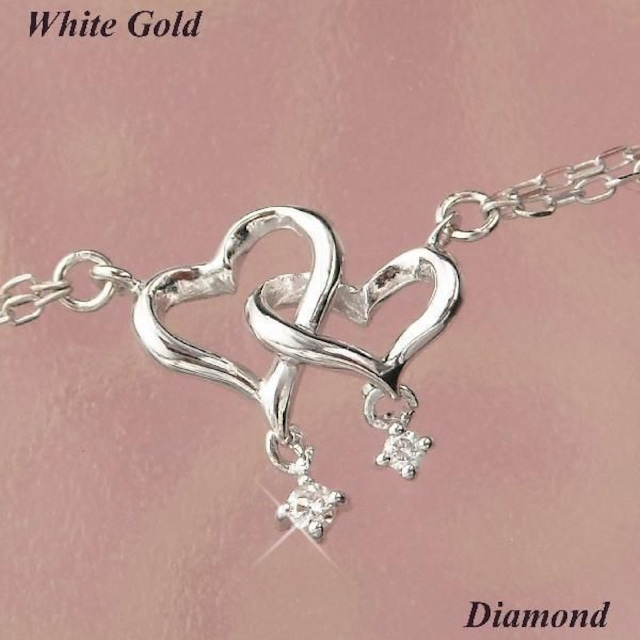 ダイヤモンド ブレスレット レディース ハートモチーフ 10金ホワイトゴールド