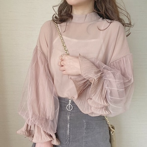 tulle sleeve tops [A-5]
