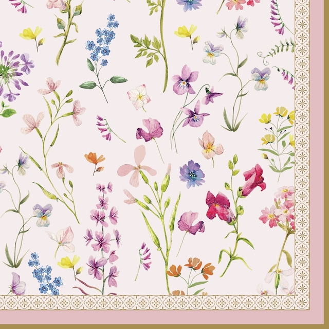 【Easy Life】バラ売り2枚 ランチサイズ ペーパーナプキン Symphonie Florale ピンク
