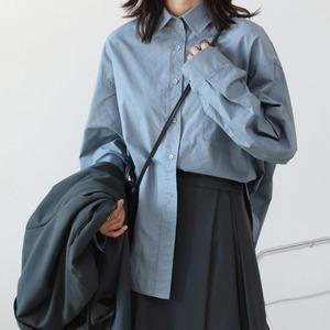 3色/シンプルルーズシャツ ・3041