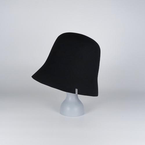 AW21-BD-1 Rabbit Felt Open Hat - BLK/GRY