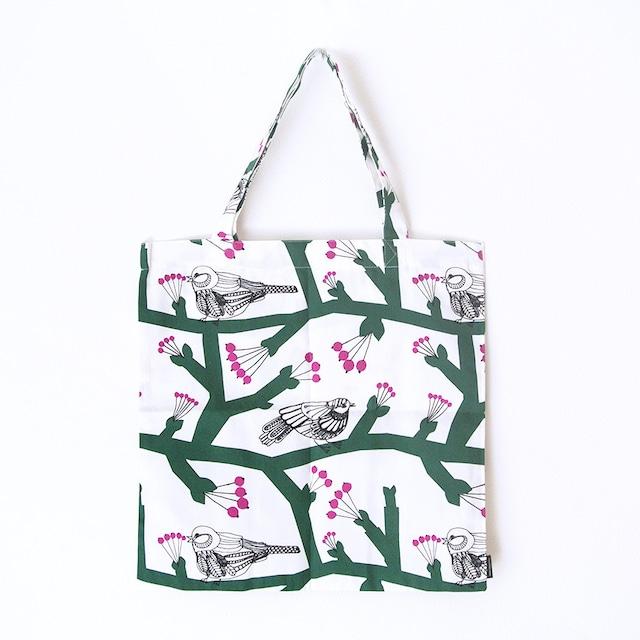 《鳥》トートバッグ マリメッコ ホワイト×グリーン ピックパッカネン