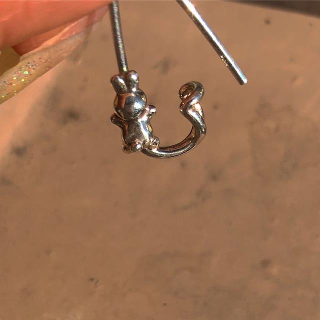 うさぎ pin earring ® SILVER925 16G #LJ18002P     うさぎ安全ピンピアス/シルバー925