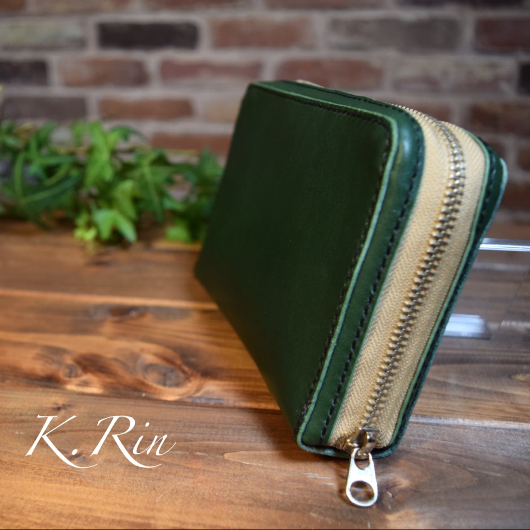 【オーダーメイド制作例】ラウンドファスナーの聖書ケース(ブックカバー)  (KA186c2)