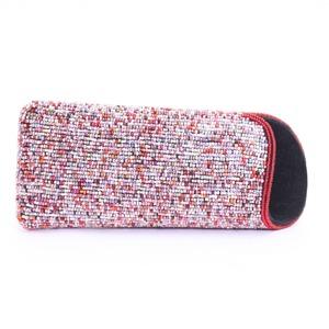 眼鏡ケース 081 ストライプ赤 ビーズ刺繍
