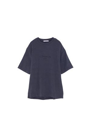 ピーチスキンロゴプリントTシャツ< navy >