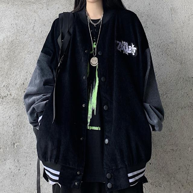 【アウター】ストリート系無地長袖プリントシングルブレストジャケット35969315