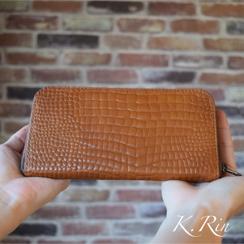 【受注制作】型押しクロコダイルのラウンドファスナー長財布  (KA066b2-9)