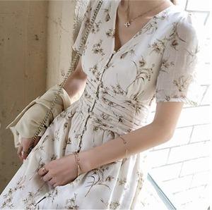 花プリント ボヘミアンロングドレス 3サイズ