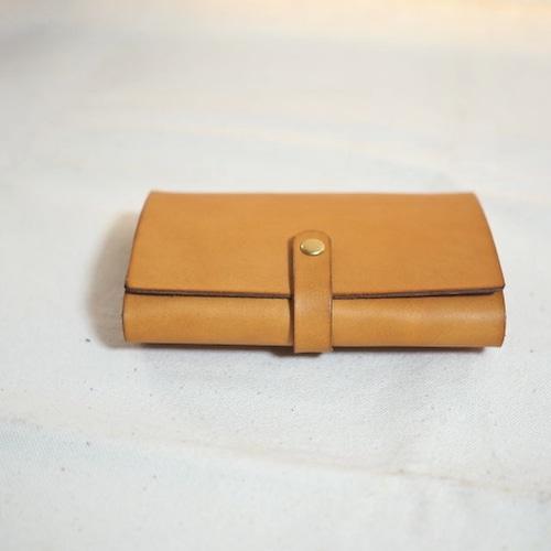 大容量 革のカードケース (ホック仕様) / キャメル