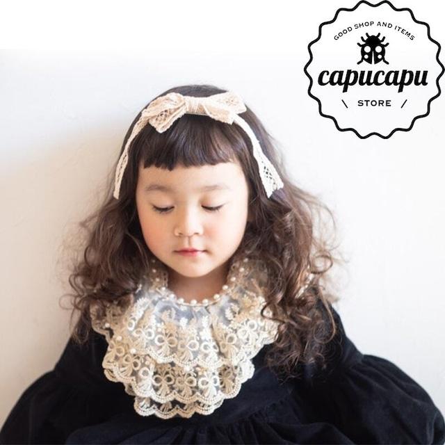 «予約» Pearl Lace cape  パールケープ 付け襟 つけ襟